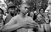 Argument and debate at Speakers Corner, Hyde Park, London; 1993.