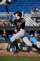 West Virginia Black Bears third baseman Dylan Busby (18) hits a double during a game against the Batavia Muckdogs on August 5, 2017 at Dwyer Stadium in Batavia, New York.  Batavia defeated Williamsport 3-2.  (Mike Janes/Four Seam Images)