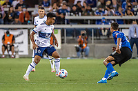SAN JOSE, CA - AUGUST 13: Ryan Raposo #27 of the Vancouver Whitecaps dribbles the ball during a game between San Jose Earthquakes and Vancouver Whitecaps at PayPal Park on August 13, 2021 in San Jose, California.