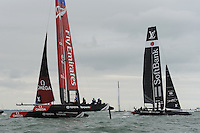 Close racing between SoftBank Team Japan and Emirates Team New Zealand during day two of the Louis Vuitton America's Cup World Series racing, Portsmouth, United Kingdom. (Photo by Rob Munro/Stewart Communications)