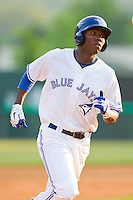 Nico Taylor #20 of the Bluefield Blue Jays rounds the bases after hitting a home run in the 6th inning against the Pulaski Mariners at Bowen Field on July 1, 2012 in Bluefield, West Virginia.  The Mariners defeated the Blue Jays 4-3.  (Brian Westerholt/Four Seam Images)