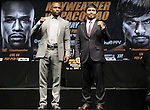 March 11, 2015, Los Angeles ,Calif. ---  Superstar Manny Pacquiao and Floyd Mayweather attend a Red Carpet press conference Wednesday at the Nokia Theatre in Los Angeles for their upcoming 12-round welterweight world championship unification mega-fight. <br />   Promoted by Mayweather Promotions and Top Rank Inc. , this pay-per-view telecast will be co-produced and co-distributed by HBO Pay-Per-View® and SHOWTIME PPV® Saturday, May 2 beginning at 9:00 p.m. ET/ 6:00 p.m. PT from the MGM Grand Garden Arena in Las Vegas. <br />   ---   Photo Credit : Chris Farina - Top Rank (no other credit allowed)  copyright 2015
