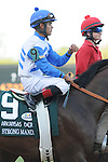 April 12, 2014: Jockey Luis Saez before the start of the Arkansas Derby (Grade I) at Oaklawn Park in Hot Springs, AR. Zoie Clift/ESW/CSM