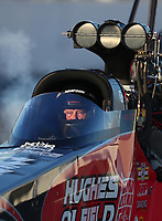 Feb 7, 2020; Pomona, CA, USA; NHRA top fuel driver Shawn Reed during qualifying for the Winternationals at Auto Club Raceway at Pomona. Mandatory Credit: Mark J. Rebilas-USA TODAY Sports