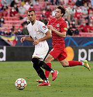 14th September 2021; Sevilla, Spain: UEFA Champions League football, Sevilla FC versus RB Salzburg; Joan Jordan of Sevilla and Brenden Aaronson of Salzburg in action