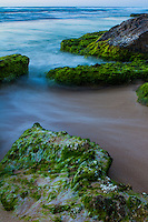 A long exposure after sunset of the water rushing by limu-covered rocks along the shoreline, North Shore, O'ahu.