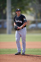 Miami Marlins starting pitcher Cody Poteet (90) gets ready to deliver a pitch during a minor league Spring Training game against the New York Mets on March 26, 2017 at the Roger Dean Stadium Complex in Jupiter, Florida.  (Mike Janes/Four Seam Images)
