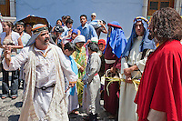 A Pharisee Mocking Jesus's Claim to be able to Rebuild the Temple in Three Days.  (John 2).   Palm Sunday Re-enactment of events in the life of Jesus, by the group called Luna LLena (Full Moon), a group of volunteers in Antigua, Guatemala.