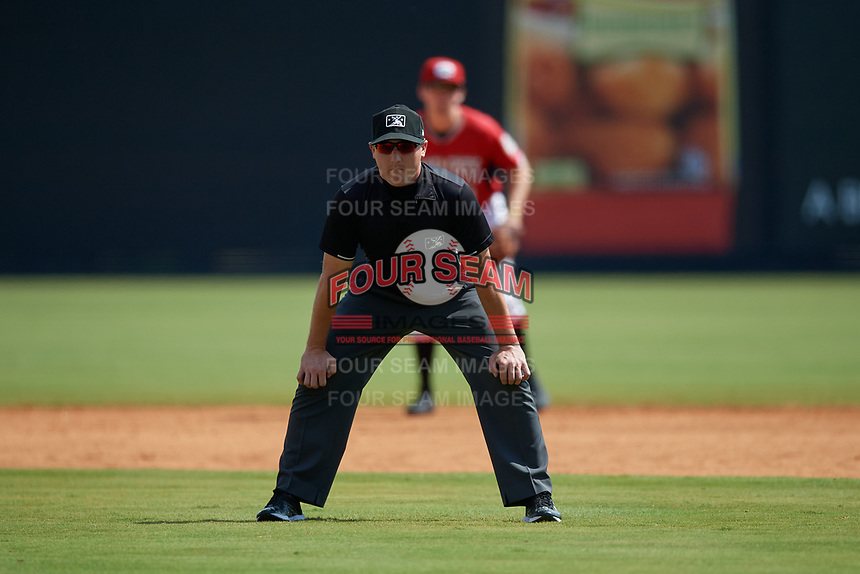 Umpire Evin Johnson during a Carolina League game between the Winston-Salem Dash and Carolina Mudcats on August 14, 2019 at Five County Stadium in Zebulon, North Carolina.  Winston-Salem defeated Carolina 4-2.  (Mike Janes/Four Seam Images)