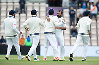 Team mates congratulate Mohammad Shami, India following the dismissal of Taylor during India vs New Zealand, ICC World Test Championship Final Cricket at The Hampshire Bowl on 22nd June 2021