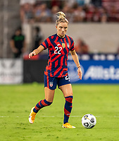 AUSTIN, TX - JUNE 16: Kristie Mewis #22 of the USWNT dribbles during a game between Nigeria and USWNT at Q2 Stadium on June 16, 2021 in Austin, Texas.