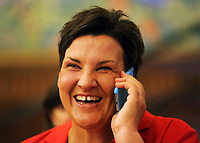 Pictured: Labour candidate for Gower constituency Tonia Antoniazzi delighted at her win before the results are officially announced. Friday 09 June 2017<br />