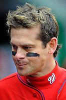 13 April 2008: Washington Nationals' infielder Aaron Boone walks the dugout during a game against the Atlanta Braves at Nationals Park, in Washington, DC. The Nationals ended their 9-game losing streak by defeating the Braves 5-4 in the last game of their 3-game series...Mandatory Photo Credit: Ed Wolfstein Photo