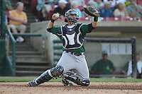 Beloit Snappers catcher Matt Koch #21 throws during a game against the Kane County Cougars at Fifth Third Bank Ballpark on June 26, 2012 in Geneva, Illinois. Beloit defeated Kane County 8-0. (Brace Hemmelgarn/Four Seam Images)