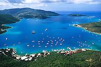 Aerial view of the Gorda Sound<br /> showing Bitter End Yacht Club<br /> Virgin Gorda<br /> British Virgin Islands