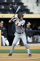 Tyler Fitzgerald (2) of the Louisville Cardinals at bat against the Wake Forest Demon Deacons at David F. Couch Ballpark on March 18, 2018 in  Winston-Salem, North Carolina.  The Demon Deacons defeated the Cardinals 6-3.  (Brian Westerholt/Four Seam Images)