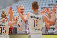 high fives - whishing good luck - Ann Wauters (12) of Belgium before a basketball game between the national teams of Belgium , called the Belgian Cats , and Nigeria on Sunday 30 th of May 2021 in Kortrijk , Belgium . PHOTO SPORTPIX.BE | SPP | STIJN AUDOOREN