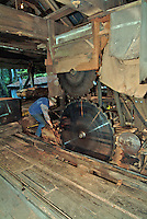 The upper and lower circular saw blades and track for sliding the logs with a saw mill worker shown to give a sense of the scale at a saw mill in Occidental California.