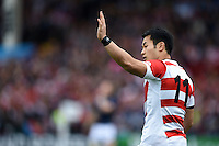 Kenki Fukuoka of Japan calls out to his backline. Rugby World Cup Pool B match between Scotland and Japan on September 23, 2015 at Kingsholm Stadium in Gloucester, England. Photo by: Patrick Khachfe / Stewart Communications