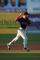 Salem Red Sox second baseman Nick Lovullo (20) throws to first base during the first game of a doubleheader against the Potomac Nationals on May 13, 2017 at G. Richard Pfitzner Stadium in Woodbridge, Virginia.  Potomac defeated Salem 6-0.  (Mike Janes/Four Seam Images)
