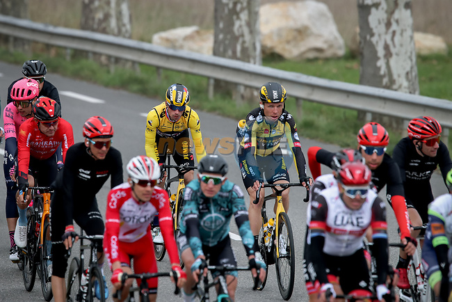 The peloton including Yellow Jersey Primoz Rogloc (SLO) and Tony Martin (GER) Team Jumbo-Visma during Stage 5 of Paris-Nice 2021, running 200km from Vienne to Bollene, France. 11th March 2021.<br /> Picture: ASO/Fabien Boukla | Cyclefile<br /> <br /> All photos usage must carry mandatory copyright credit (© Cyclefile | ASO/Fabien Boukla)