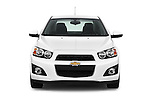 Car photography straight front view of a 2016 Chevrolet Sonic LTZ 4 Door Sedan Front View