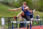 OXFORD, CT 050421JS10—Seymour's Robert Rousseau competes in the 110 meter hurdles during their NVL track meet with Oxford and Sacred Heart Tuesday at Oxford High School. <br /> Jim Shannon Republican American