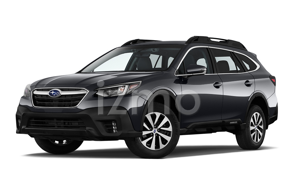 Stock pictures of low aggressive front three quarter view of 2020 Subaru Outback Premium 5 Door Wagon Low Aggressive