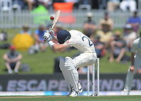 England's Joe Denley ducks a bouncer during day one of the international cricket 1st test match between NZ Black Caps and England at Bay Oval in Mount Maunganui, New Zealand on Thursday, 21 November 2019. Photo: Dave Lintott / lintottphoto.co.nz
