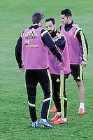 Spanish National Team's  training at Ciudad del Futbol stadium in Las Rozas, Madrid, Spain. In the pic: Pique, Juanfran and Miguel Jimenez. March 25, 2015. (ALTERPHOTOS/Luis Fernandez) /NORTEphoto.com