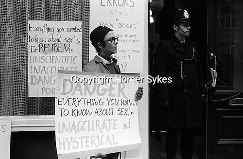 """Gay Liberation Front. Demonstration by Gay and Lesbian activitists against Pan books. Central London 1971. Sex Doctor David Reuben publication of his book """"Everything you want to know about sex"""""""