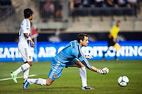 Los Angeles Galaxy goalkeeper Carlo Cudicini (1). The Los Angeles Galaxy defeated the Philadelphia Union 4-1 during a Major League Soccer (MLS) match at PPL Park in Chester, PA, on May 15, 2013.