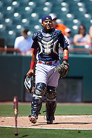 Reading Fightin Phils catcher Rene Garcia (6) watches a play on a pop up during a game against the Bowie Baysox on July 22, 2015 at Prince George's Stadium in Bowie, Maryland.  Bowie defeated Reading 6-4.  (Mike Janes/Four Seam Images)