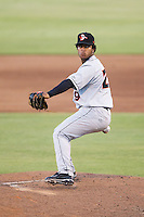 Delmarva Shorebirds relief pitcher Alexander Santana (29) in action against the Kannapolis Intimidators at CMC-NorthEast Stadium on July 1, 2014 in Kannapolis, North Carolina.  The Intimidators defeated the Shorebirds 5-2. (Brian Westerholt/Four Seam Images)
