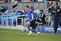 SAN JOSE, CA - MAY 22: Paul Marie #3 of the San Jose Earthquakes during a game between Sporting Kansas City and San Jose Earthquakes at PayPal Park on May 22, 2021 in San Jose, California.