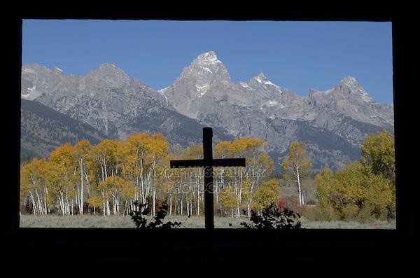 View through Window, Chapel of Transfiguration, Grand Teton NP,Wyoming, September 2005