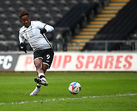 19th December 2020; Liberty Stadium, Swansea, Glamorgan, Wales; English Football League Championship Football, Swansea City versus Barnsley; Jamal Lowe of Swansea City shoots to score his sides first goal making it 1-0 in the 2nd minute