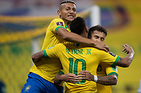 9th October 2020; Arena Corinthians, Sao Paulo, Sao Paulo, Brazil; FIFA World Cup Football Qatar 2022 qualifiers; Brazil versus Bolivia; Philippe Coutinho of Brazil celebrates his goal with Neymar and Richarlison in the 73th minute 5-0