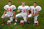 SOUTHBURY, CT - 27 August 2012-082712EC04--   Jesse Prajer, Rob Torino and Carl Gatzendorfer are co-captains for the Pomperaug High School football team this season. Erin Covey Republican American.