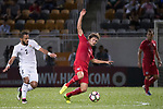 Mckee, Jaimes Anthony of Hong Kong (R) and Mother Abu Amara of Jordan (l) in action during the International Friendly match between Hong Kong and Jordan at Mongkok Stadium on June 7, 2017 in Hong Kong, China. Photo by Cris Wong / Power Sport Images