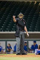 MiLB home plate umpire Andrew Clark makes a strike call during the game between the AZL Diamondbacks and AZL Cubs on August 11, 2017 at Sloan Park in Mesa, Arizona. AZL Cubs defeated the AZL Diamondbacks 7-3. (Zachary Lucy/Four Seam Images)