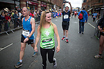 © Joel Goodman - 07973 332324 . 22/05/2016 . Manchester , UK . TINA O'BRIEN at the finishing line . The Great Manchester Run in Manchester City Centre . Photo credit : Joel Goodman