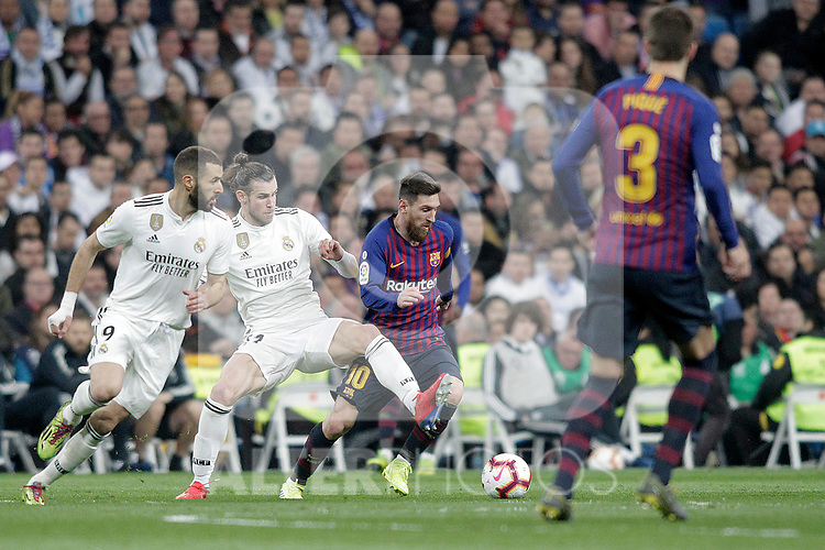 Real Madrid CF's Karim Benzema (L), Gareth Bale  and FC Barcelona's Leo Messi, Gerard Pique during La Liga match. March 02,2019. (ALTERPHOTOS/Alconada)