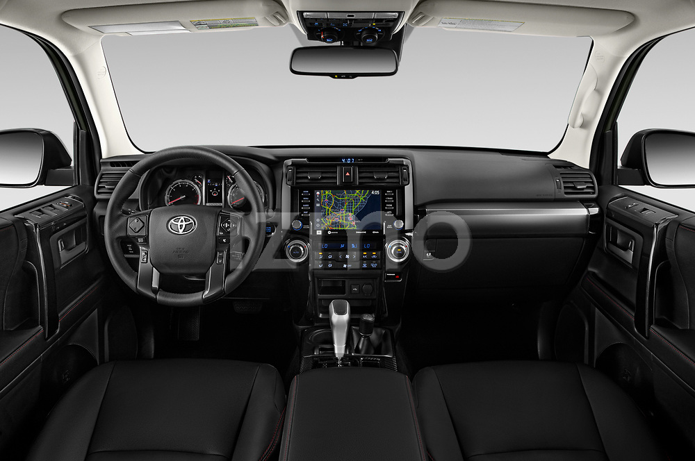 Stock photo of straight dashboard view of 2020 Toyota 4Runner TRD-Pro 5 Door SUV Dashboard