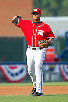 Third baseman Chris Dominguez #37 of the Richmond Flying Squirrels makes a throw to first base against the Harrisburg Senators in game one of a double-header at The Diamond on July 22, 2011 in Richmond, Virginia.  The Squirrels defeated the Senators 3-1.   (Brian Westerholt / Four Seam Images)