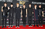 """INFINITE, Jul 24, 2014 : South Korean boy band INFINITE, attend a photo call before the 10th anniversary live special of weekly music chart show, """"M! Countdown"""" of Mnet in Goyang, north of Seoul, South Korea. (Photo by Lee Jae-Won/AFLO) (SOUTH KOREA)"""