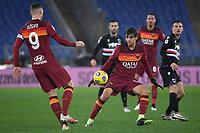 Edin Dzeko of AS Roma and Gonzalo Villar of AS Roma during the Serie A football match between AS Roma and UC Sampdoria at Olimpico stadium in Roma (Italy), January 3rd, 2021. Photo Andrea Staccioli / Insidefoto