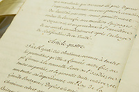 Traite de Paris de 1763 (Treaty of Paris of 1763) before an exhibition in Quebec City, septembre 22 2014. The Treaty of Paris, also known as the Treaty of 1763, was signed on 10 February 1763 by the kingdoms of Great Britain, France and Spain, with Portugal in agreement, after Britain's victory over France and Spain during the Seven Years' War.<br /> <br /> PHOTO :  Francis Vachon - Agence Quebec Presse