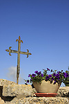 Israel, Jezreel valley. A cross at the garden in front of the Franciscan Church of the Transfiguration on Mount Tabor