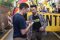 """Knapp 100 Mitglieder und Anhaenger der sog. """"Identitaeren"""" demonstrierten am Freitag den 17. Juni 2016 in Berlin. Angemeldet waren laut Veranstalter 400 Teilnehmer. Die rechtsextremen Teilnehmer des Aufmarsches kamen aus Berlin, Bayern und Oestrreich und skandierten Parolen wie """"Berlin ist unsere Stadt"""", """"Festung Europa, macht die Grenzen dicht"""" und No Border, No Nation, Stop Immigration"""".<br /> Links im Bild: Martin Sellner, Gruendungsmitglied der """"Identitaeren Bewegung Oesterreich"""" (IBOe).<br /> Rechts im Bild: Karsten Vielhaber (alias Karsten<br /> Verber), Identitaere Berlin.<br /> 17.6.2016, Berlin<br /> Copyright: Christian-Ditsch.de<br /> [Inhaltsveraendernde Manipulation des Fotos nur nach ausdruecklicher Genehmigung des Fotografen. Vereinbarungen ueber Abtretung von Persoenlichkeitsrechten/Model Release der abgebildeten Person/Personen liegen nicht vor. NO MODEL RELEASE! Nur fuer Redaktionelle Zwecke. Don't publish without copyright Christian-Ditsch.de, Veroeffentlichung nur mit Fotografennennung, sowie gegen Honorar, MwSt. und Beleg. Konto: I N G - D i B a, IBAN DE58500105175400192269, BIC INGDDEFFXXX, Kontakt: post@christian-ditsch.de<br /> Bei der Bearbeitung der Dateiinformationen darf die Urheberkennzeichnung in den EXIF- und  IPTC-Daten nicht entfernt werden, diese sind in digitalen Medien nach §95c UrhG rechtlich geschuetzt. Der Urhebervermerk wird gemaess §13 UrhG verlangt.]"""